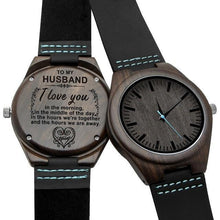 Load image into Gallery viewer, Engraved Wooden Watch For Men (Blue Second), Color - for Husband
