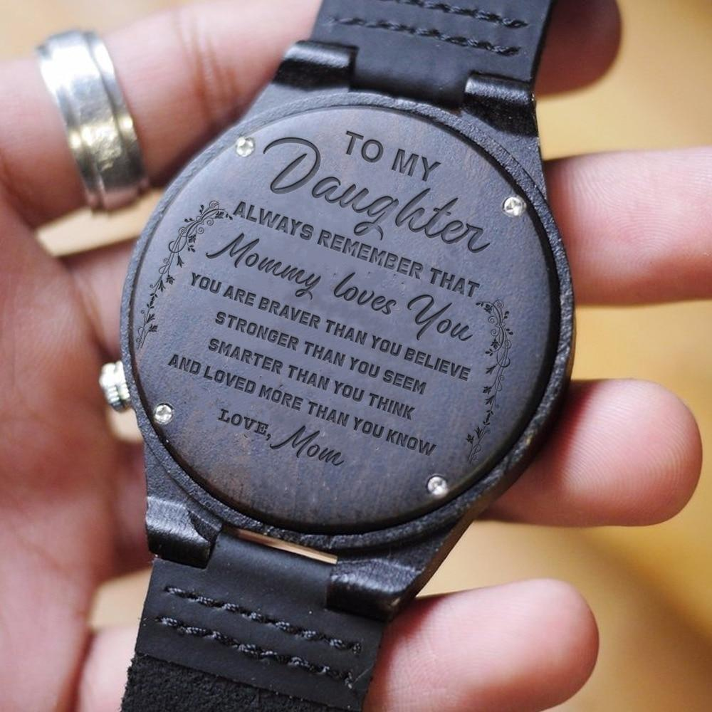 Mom to Daughter Engraved Wooden Watch