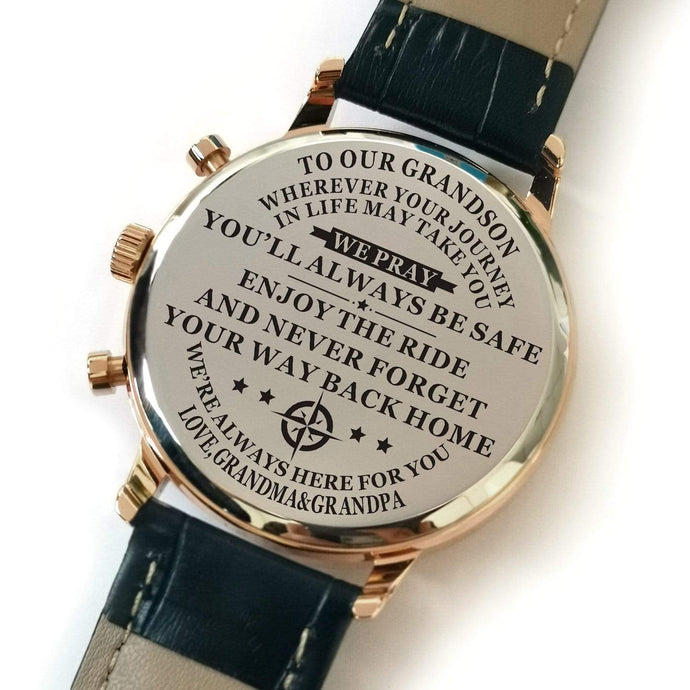 Grandma Grandpa To Grandson-Always Here For You Metal Engraved Wrist Watch
