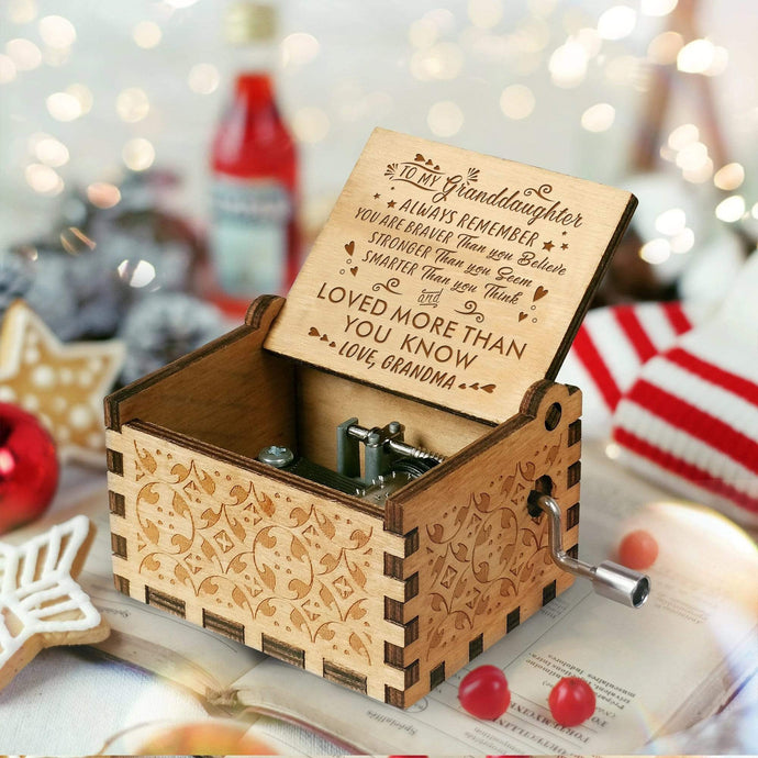 Grandma To Grand Daughter-Love You More Than You Know Engraved Wooden Music Box  MB006