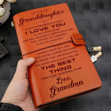 Load image into Gallery viewer, Grandma To Granddaughter Best Thing Ever Happened To Me Engraved Leather Cover Message Notebook NB030