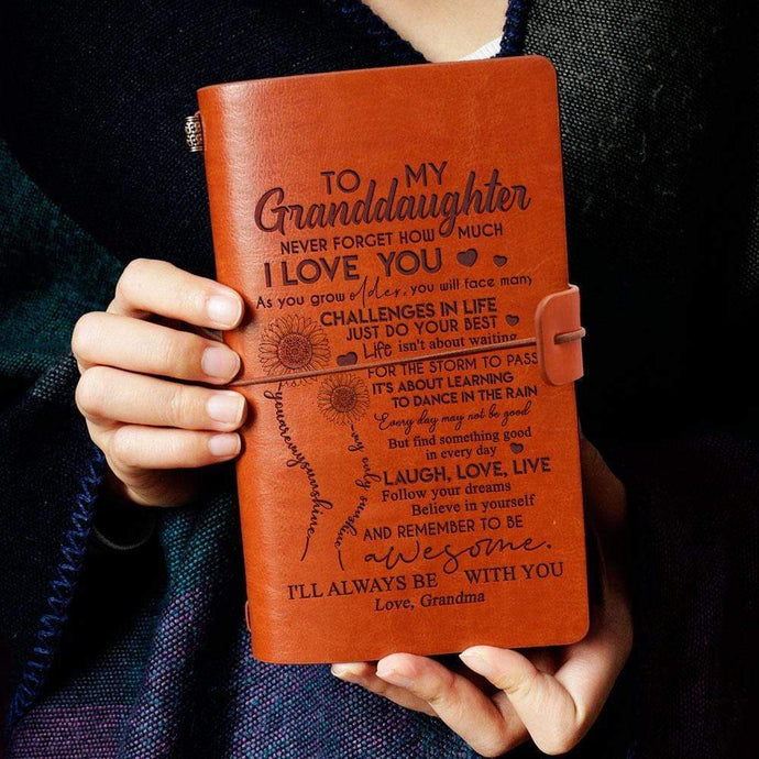 Grandma To Granddaughter I Will Always Be With You Engraved Leather Cover Message Notebook022 NoteBOOK