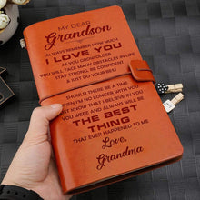 Load image into Gallery viewer, Grandma To Grandson Best Thing Ever Happened To Me Engraved Leather Cover Message Notebook NB029