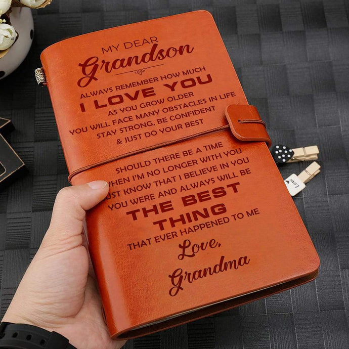 Grandma To Grandson Best Thing Ever Happened To Me Engraved Leather Cover Message Notebook NB029