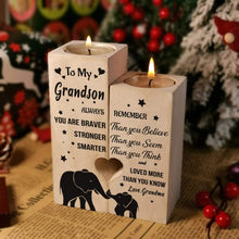 Load image into Gallery viewer, Grandma to Grandson-I love You More Than You Know Engraved Solid Oak Wood Candle Holder 43