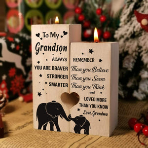 Grandma to Grandson-I love You More Than You Know Engraved Solid Oak Wood Candle Holder 43