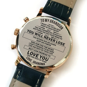 Grandma To Grandson-Love You For The Rest Of Mine Metal Engraved Wrist Watch