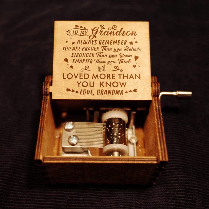 Grandma To Grandson-Love You More Than You Know Engraved Wooden Music Box  MB008