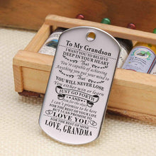 Load image into Gallery viewer, Grandma To Grandson-Never Lose Personalized Dog Tags Graduation Birthday Gift 6010