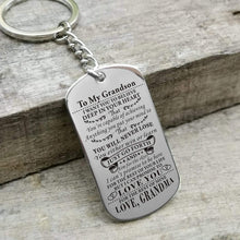 Load image into Gallery viewer, Grandma To Grandson-Never Lose Personalized Dog Tags Graduation Birthday Gift 6010 Keychain