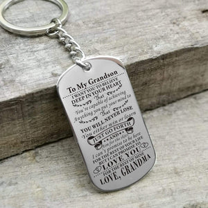 Grandma To Grandson-Never Lose Personalized Dog Tags Graduation Birthday Gift 6010 Keychain