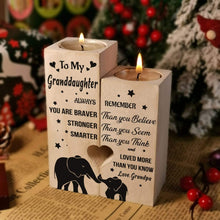 Load image into Gallery viewer, Grandpa to Granddaughter-I love You More Than You Know Engraved Solid Oak Wood Candle Holder 48