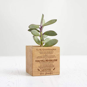 Grandpa To Granddaughter Personalized Steamed Beech Micro Plant Pot PL010
