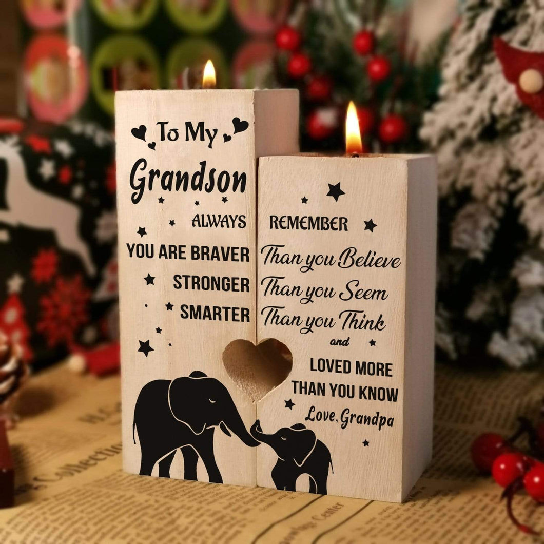 Grandpa to Grandson-I love You More Than You Know Engraved Solid Oak Wood Candle Holder 44