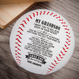Grandpa To Grandson-Love You For The Rest Of Mine Engraved Baseball Gift QB004
