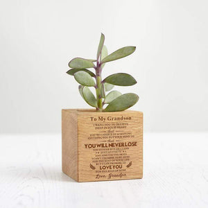 Grandpa To Grandson Personalized Steamed Beech Micro Plant Pot PL008