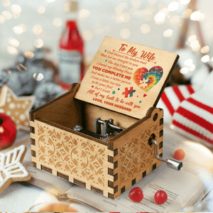 Husband To Gorgeous Wife-Missing Piece Engraved Wooden Music Box MB026