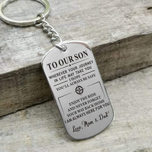 Load image into Gallery viewer, Mom Dad To Son-Always Here For You Personalized Dog Tags For Graduation Birthday Gift 6020