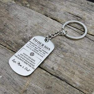 Mom Dad To Son-Always Here For You Personalized Dog Tags For Graduation Birthday Gift 6020 Keychain