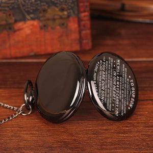 Mom Dad To Son-Love You Now And Forever Personalized Engraved Quartz Pocket Chain Watch 4546
