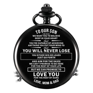 Mom Dad To Son-Love You The Rest Of Mine Personalized Engraved Quartz Pocket Chain Watch 4543