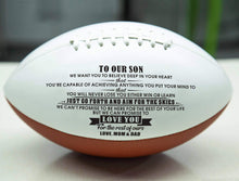 Load image into Gallery viewer, Mom Dad To Son- Never Lose Engraved American Football 007