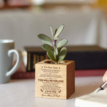 Load image into Gallery viewer, Mom Dad To Son Personalized Steamed Beech Micro Plant Pot PL006
