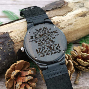 Mom Dad to Son-Proud Parent Engraved Wooden Watch W1829