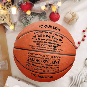 Mom Dad To Son Will Always Be With You Engraved Basketball Ball 003