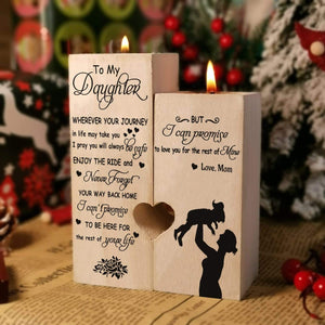Mom To Daughter-Love You For The Rest Of My life Engraved Solid Oak Wood Candle Holder 15