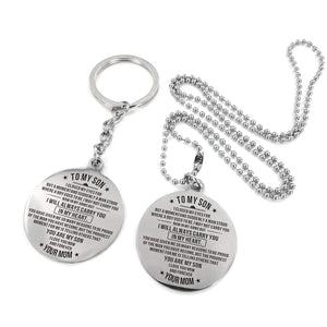 Mom To Son-Always Carry You In My Heart Engraved Necklace and Key chain Keychain Necklace Set