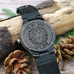 Mom to Son-Always Have Your Back Engraved Wooden Watch