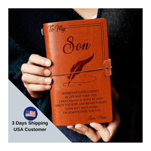 Load image into Gallery viewer, Mom To Son Always Here For You Engraved Leather Cover Message Notebook NB006