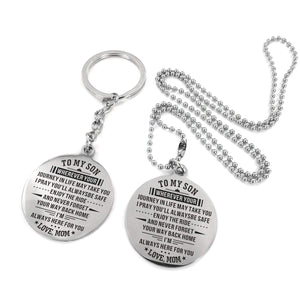 Mom To Son-Always Here For You Engraved Necklace and Key chain Keychain