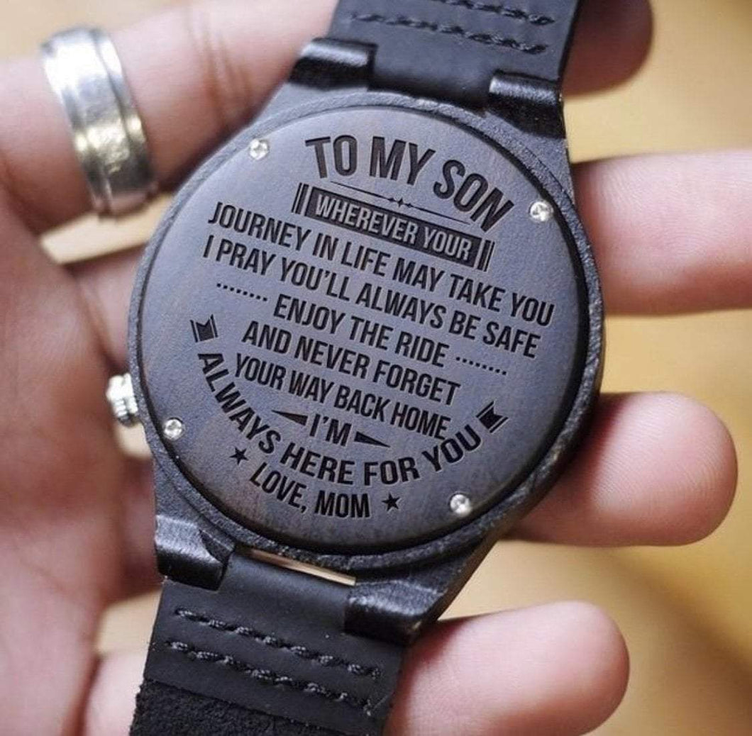 Mom to Son-Always Here For You Engraved Wooden Watch Always Here For You From Dad
