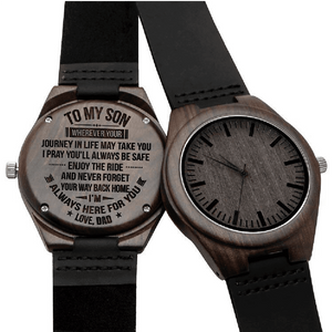 Mom to Son-Always Here For You Engraved Wooden Watch