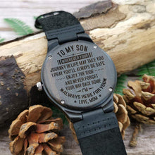 Load image into Gallery viewer, Mom to Son-Always Here For You Engraved Wooden Watch W1805