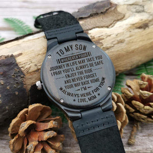 Mom to Son-Always Here For You Engraved Wooden Watch W1805