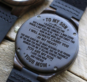 Mom to Son-Always In My Heart Engraved Wooden Watch