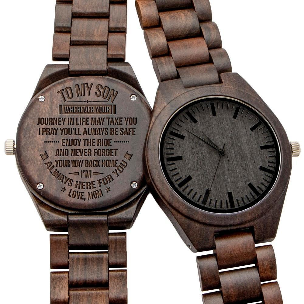 Mom to Son Engraved Natural Ebony Wooden Watch