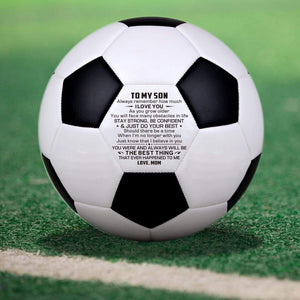 Mom To Son Engraved Soccer Ball Gift