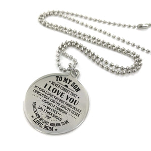 Mom To Son-How Special You Are Engraved Necklace and Key chain Necklace