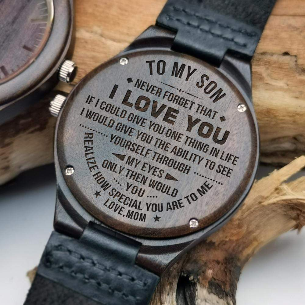 Mom to Son- How Special You Are Engraved Wooden Watch W1825