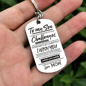 Mom To Son-I Am So Proud Of You Personalzied Dog Tags 6043 Keychain