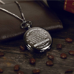 Mom To Son-I'll Be Always With You Personalized Engraved Quartz Pocket Chain Watch 4519