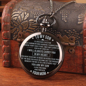 Mom To Son-I Love You Now And Forever Quartz Pocket Chain Watch 4501
