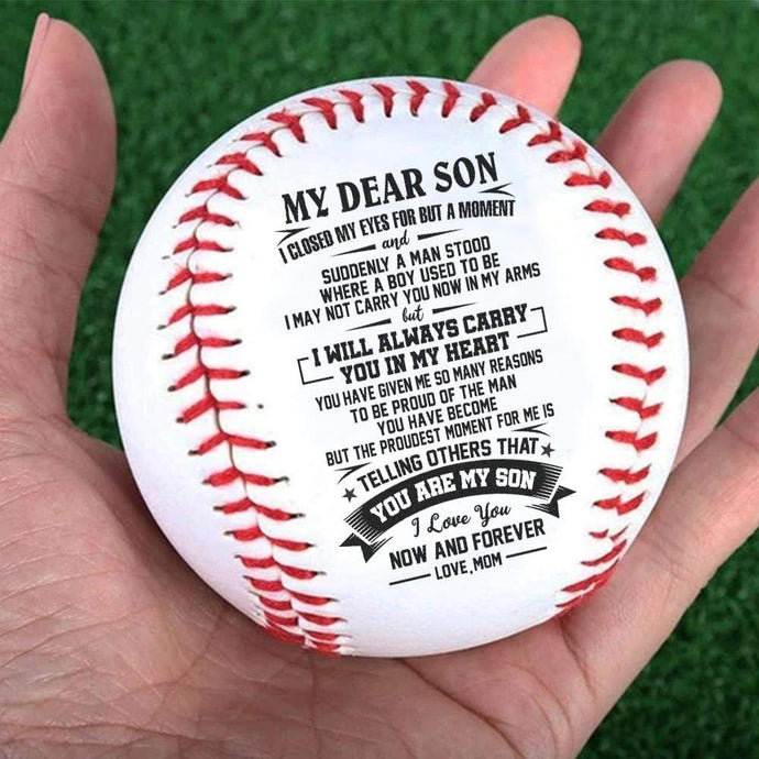 Mom To Son-I Will Always Carry You In My Heart Engraved Baseball Gift