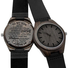 Load image into Gallery viewer, Mom to Son Just Believe In Yourself Engraved Wooden Watch W1861