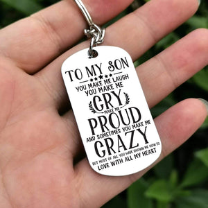 Mom To Son-Love With All My Heart Personalized Dog Tags 6054 Keychain