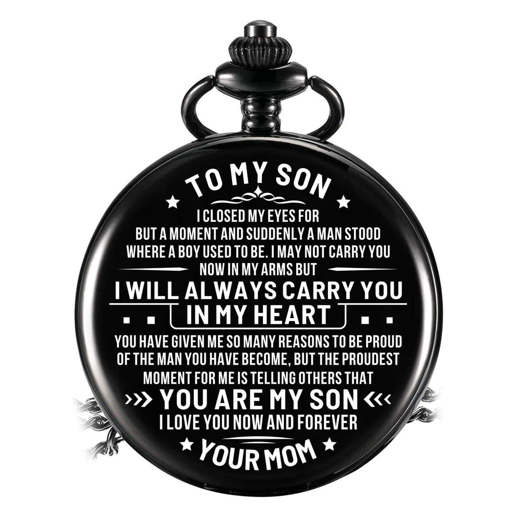 Mom To Son-Love You Now And Forever Personalized Engraved Quartz Pocket Chain Watch 4545